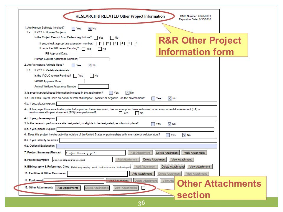 36 R&R Other Project Information form Other Attachments section