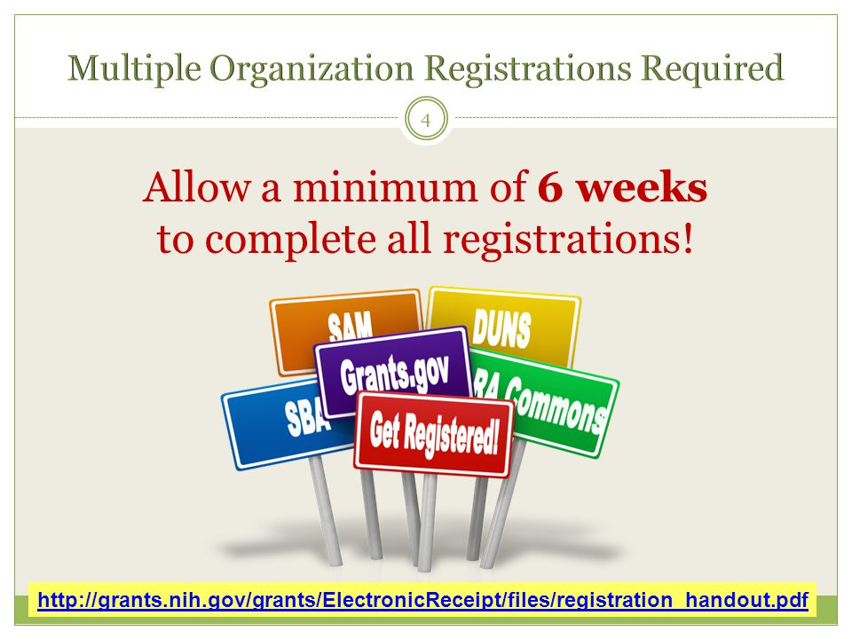 Allow a minimum of 6 weeks to complete all registrations.