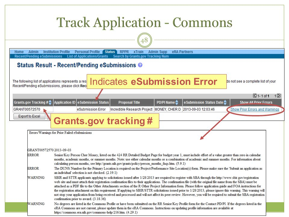 48 Indicates eSubmission Error Grants.gov tracking #