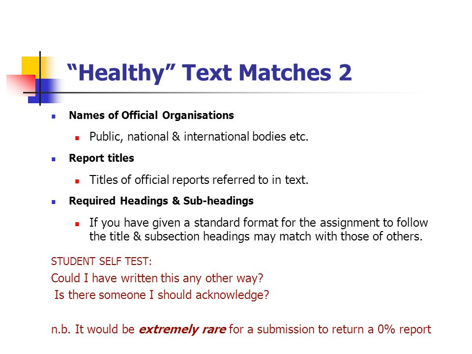 """Healthy"" Text Matches 2 Names of Official Organisations Public, national & international bodies etc. Report titles Titles of official reports referre"