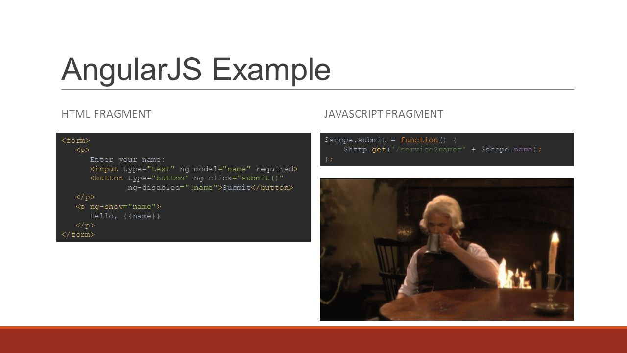 AngularJS Example HTML FRAGMENTJAVASCRIPT FRAGMENT Enter your name: <button type=