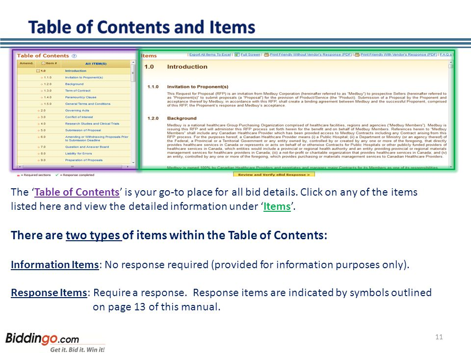 11 The 'Table of Contents' is your go-to place for all bid details.