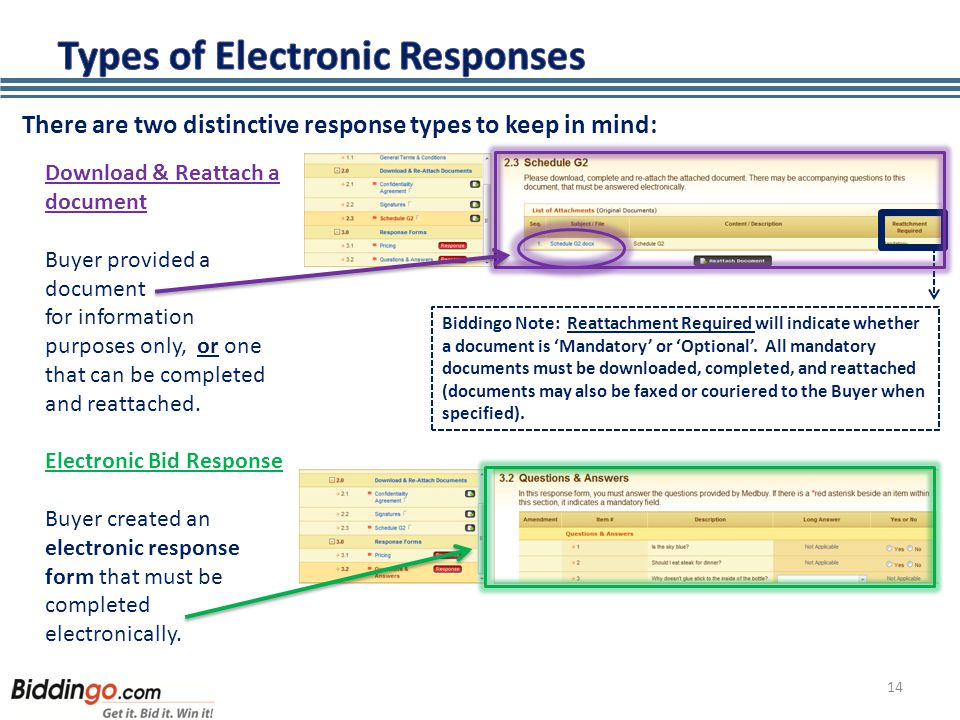 14 There are two distinctive response types to keep in mind: Download & Reattach a document Buyer provided a document for information purposes only, or one that can be completed and reattached.