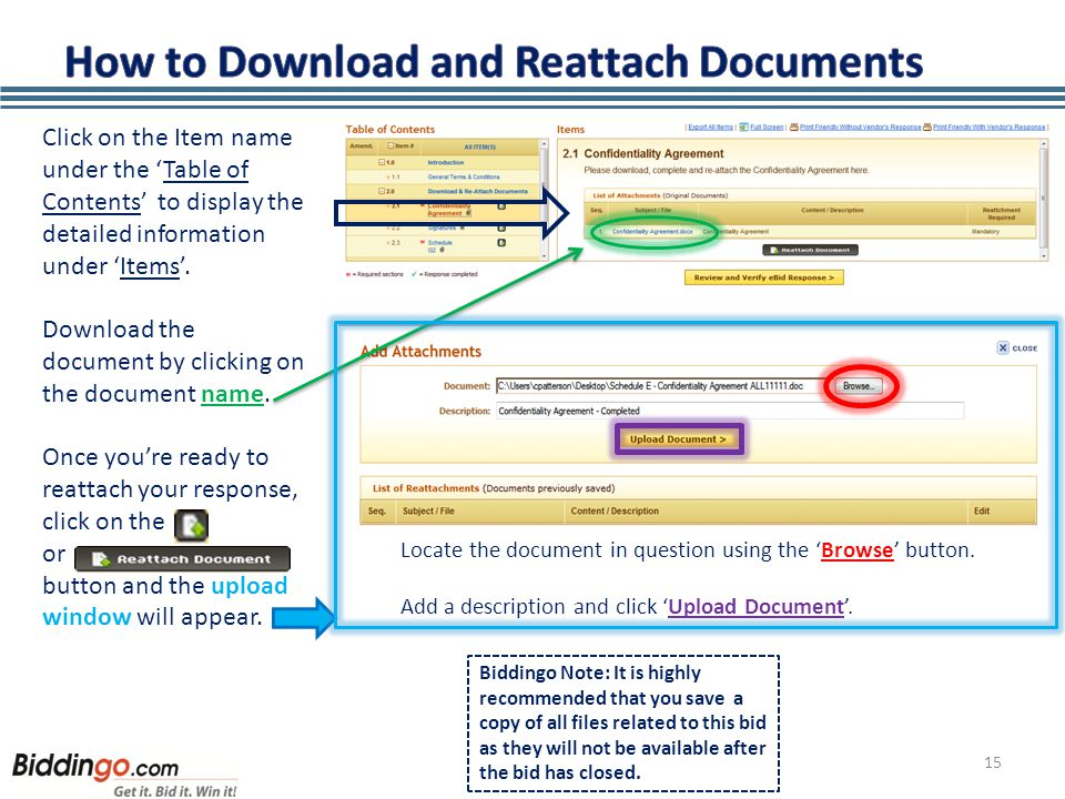 15 Click on the Item name under the 'Table of Contents' to display the detailed information under 'Items'. Download the document by clicking on the do