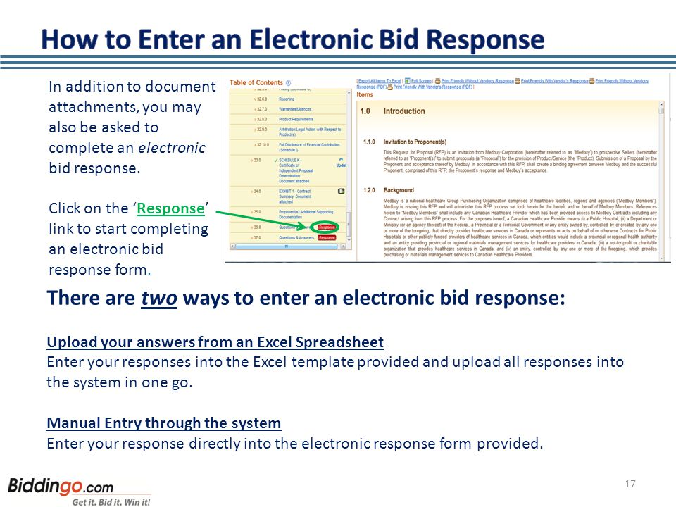 17 In addition to document attachments, you may also be asked to complete an electronic bid response.