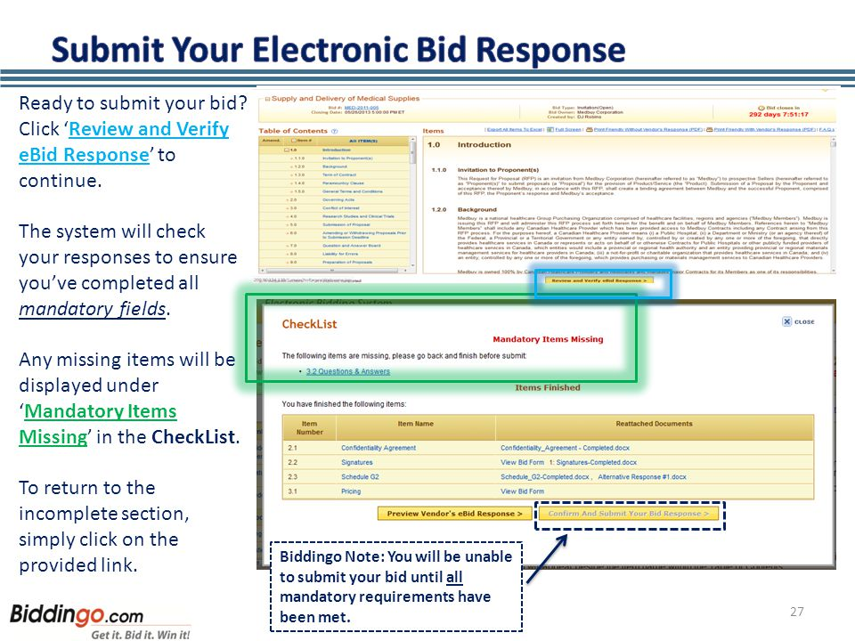27 Ready to submit your bid. Click 'Review and Verify eBid Response' to continue.