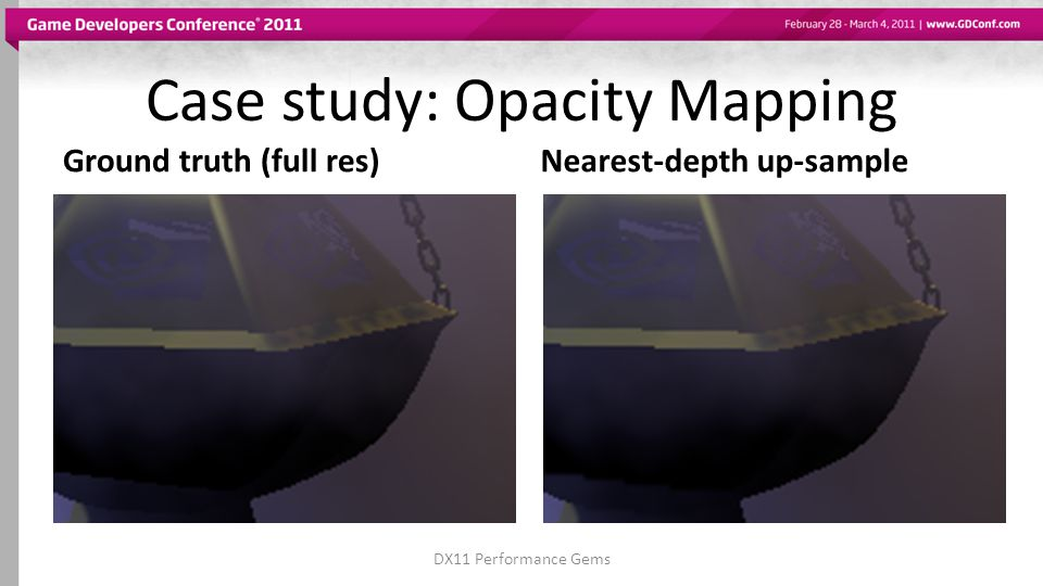 Case study: Opacity Mapping Ground truth (full res)Nearest-depth up-sample DX11 Performance Gems