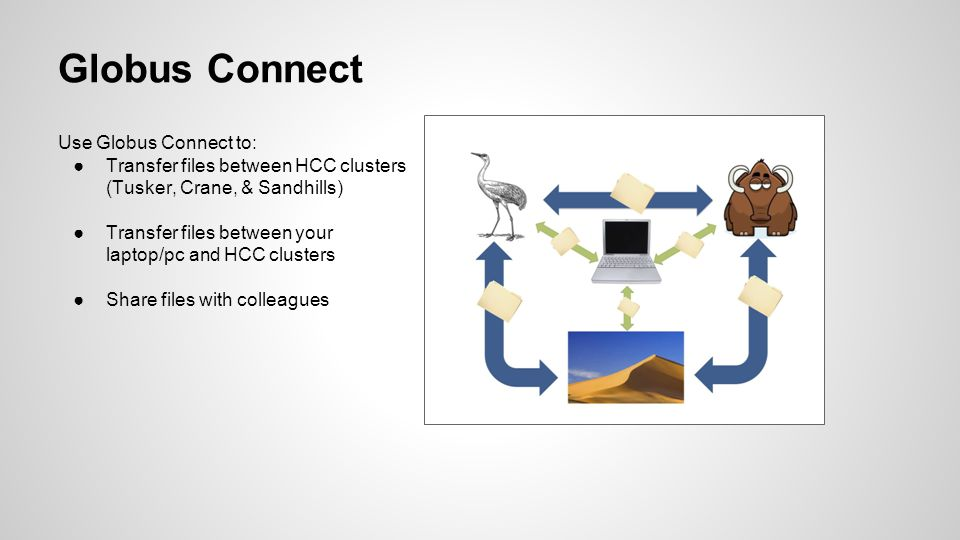 Use Globus Connect to: ●Transfer files between HCC clusters (Tusker, Crane, & Sandhills) ●Transfer files between your laptop/pc and HCC clusters ●Share files with colleagues Globus Connect