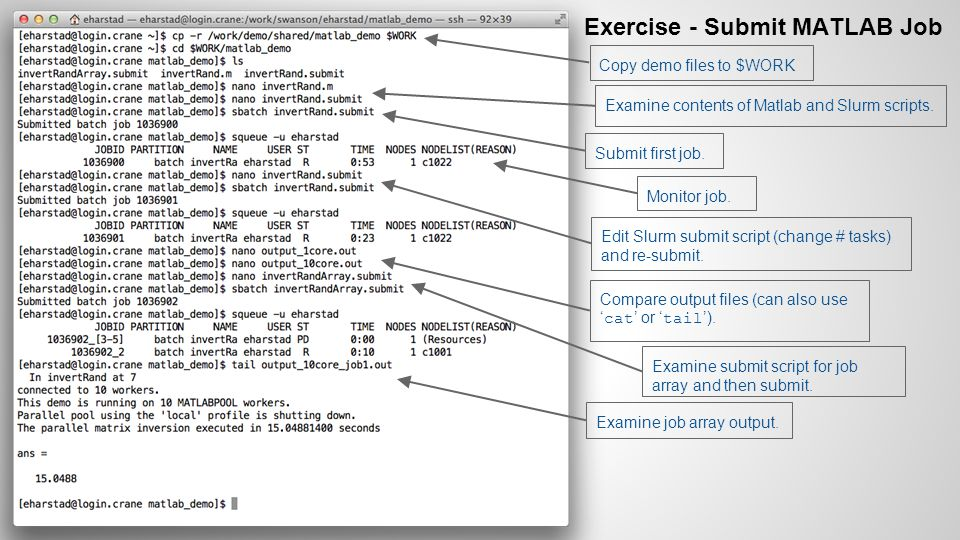 Exercise - Submit MATLAB Job Examine contents of Matlab and Slurm scripts.