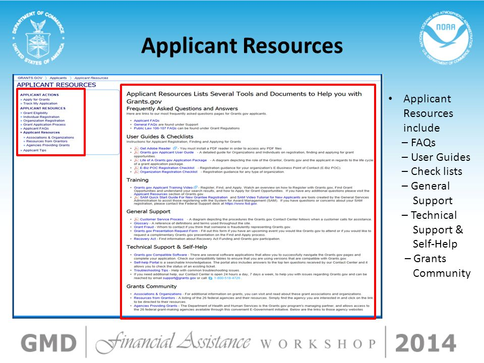 Applicant Resources Applicant Resources include – FAQs – User Guides – Check lists – General Support – Technical Support & Self-Help – Grants Communit