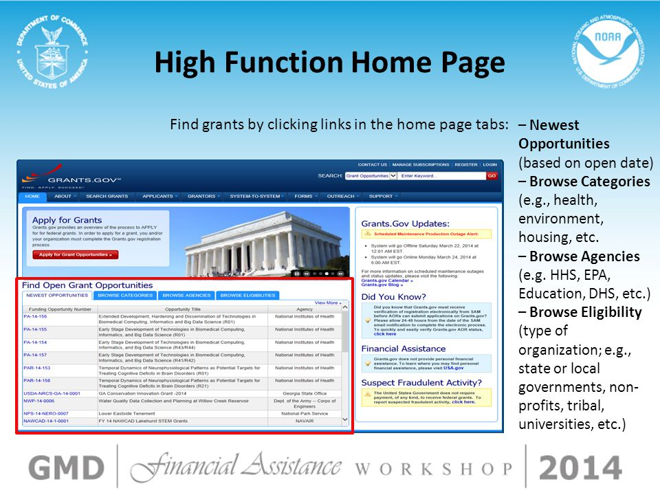 High Function Home Page Find grants by clicking links in the home page tabs: – Newest Opportunities (based on open date) – Browse Categories (e.g., he