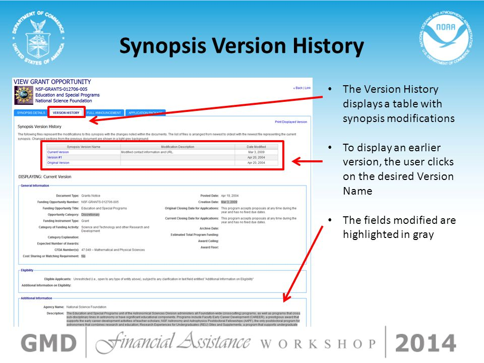 Synopsis Version History The Version History displays a table with synopsis modifications To display an earlier version, the user clicks on the desire