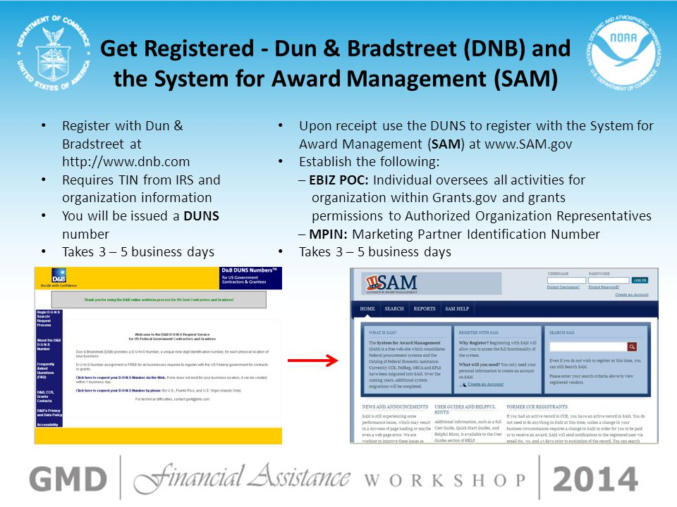 Get Registered - Dun & Bradstreet (DNB) and the System for Award Management (SAM) Register with Dun & Bradstreet at http://www.dnb.com Requires TIN fr