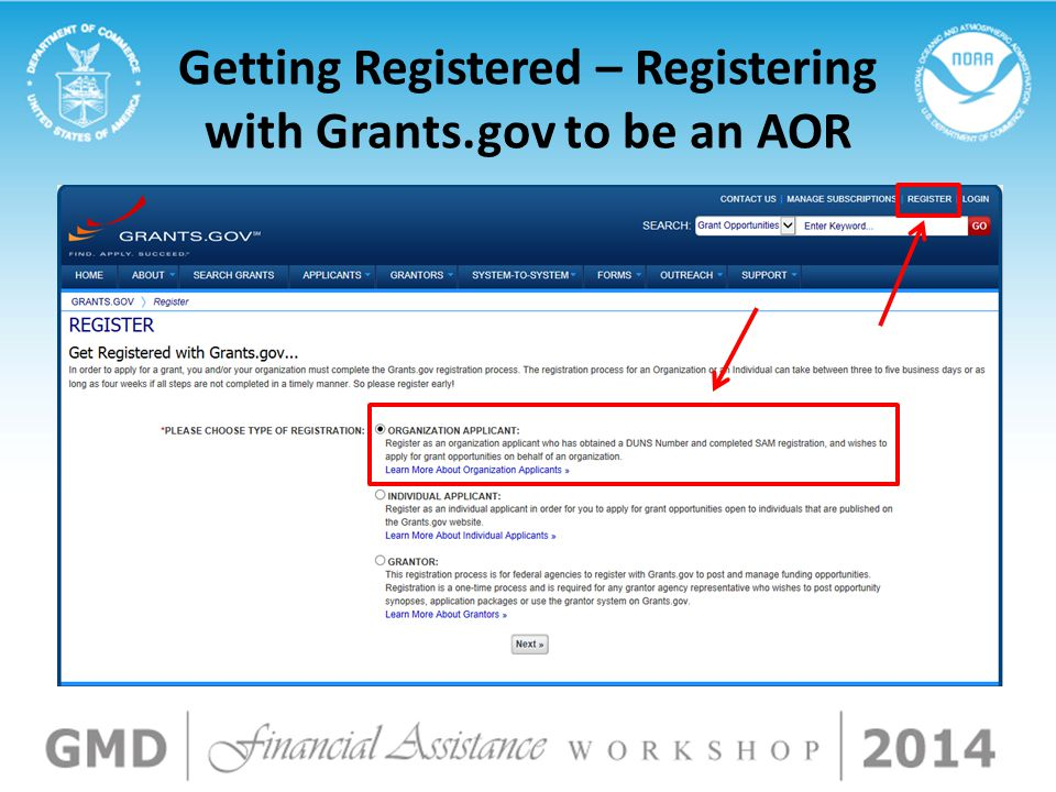 Getting Registered – Registering with Grants.gov to be an AOR