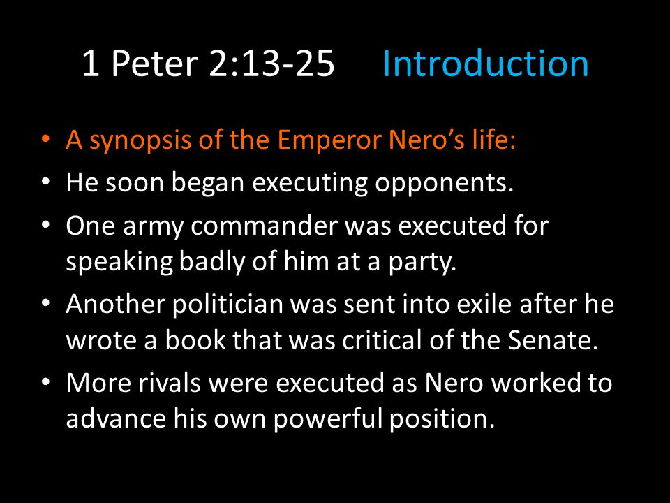 1 Peter 2:13-25 Conclusions We submit to authority.