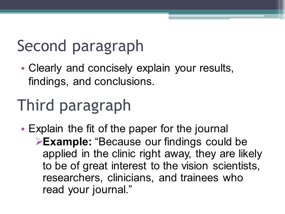 Second paragraph Clearly and concisely explain your results, findings, and conclusions. Third paragraph Explain the fit of the paper for the journal 