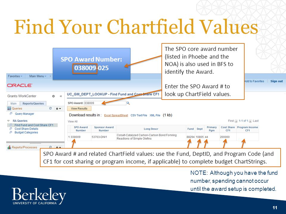 Find Your Chartfield Values 11 The SPO core award number (listed in Phoebe and the NOA) is also used in BFS to identify the Award.