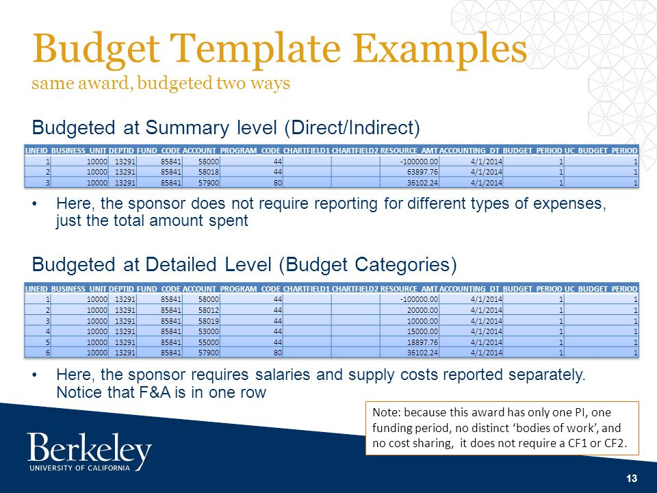 Budget Template Examples same award, budgeted two ways Budgeted at Summary level (Direct/Indirect) Here, the sponsor does not require reporting for different types of expenses, just the total amount spent 13 Budgeted at Detailed Level (Budget Categories) Here, the sponsor requires salaries and supply costs reported separately.