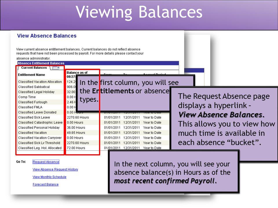 Viewing Balances