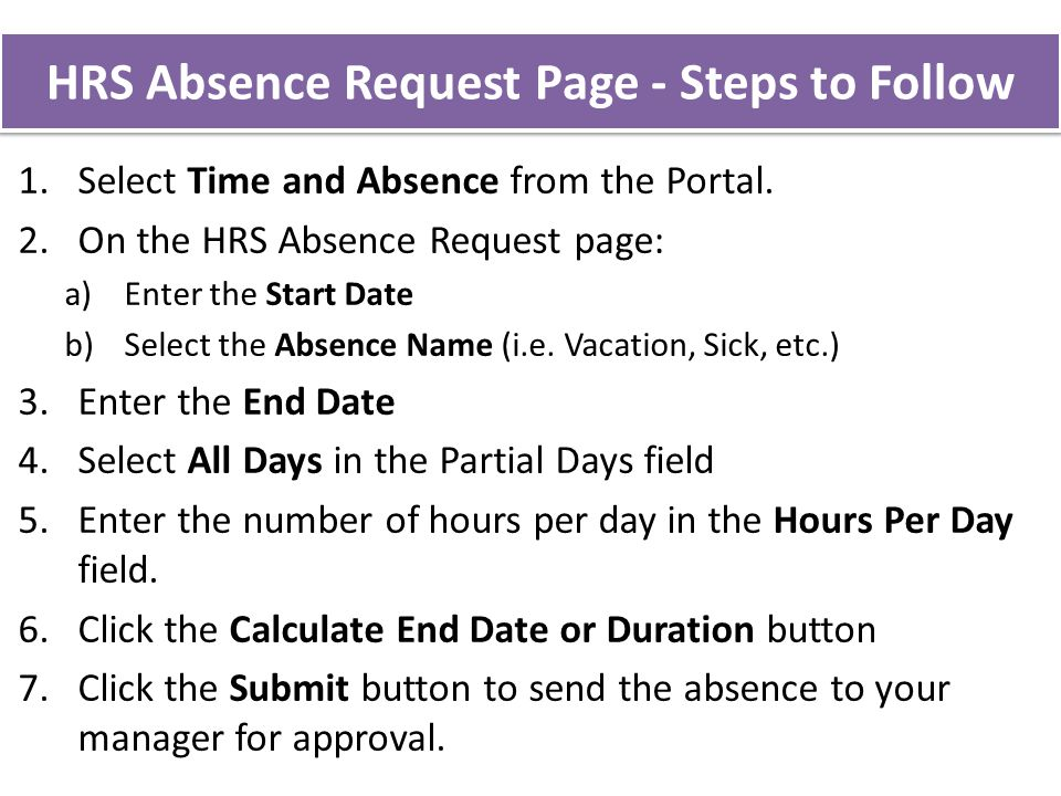 HRS Absence Request Page - Steps to Follow 1.Select Time and Absence from the Portal.