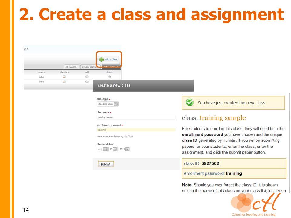 2. Create a class and assignment 14