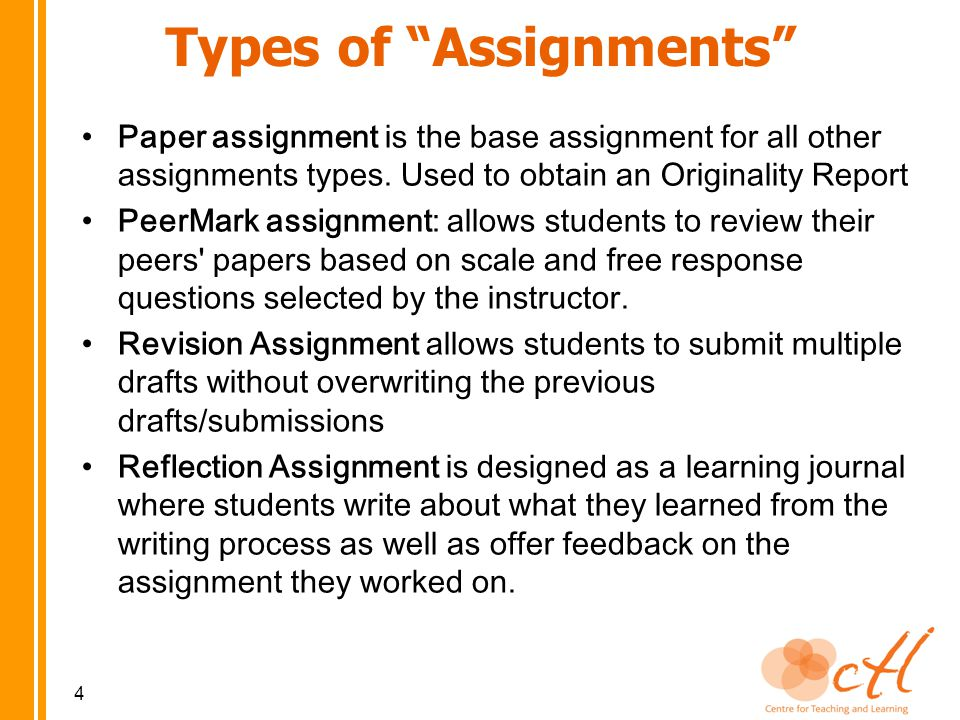Paper assignment is the base assignment for all other assignments types.