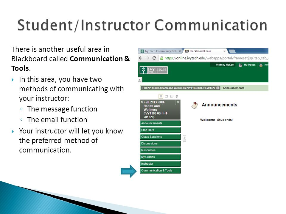 There is another useful area in Blackboard called Communication & Tools.