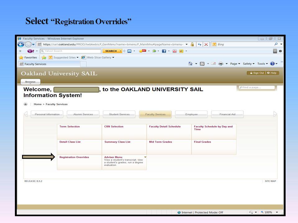 Select Registration Overrides