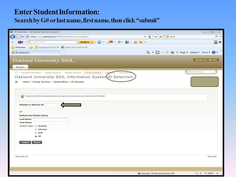 Enter Student Information: Search by G# or last name, first name, then click submit