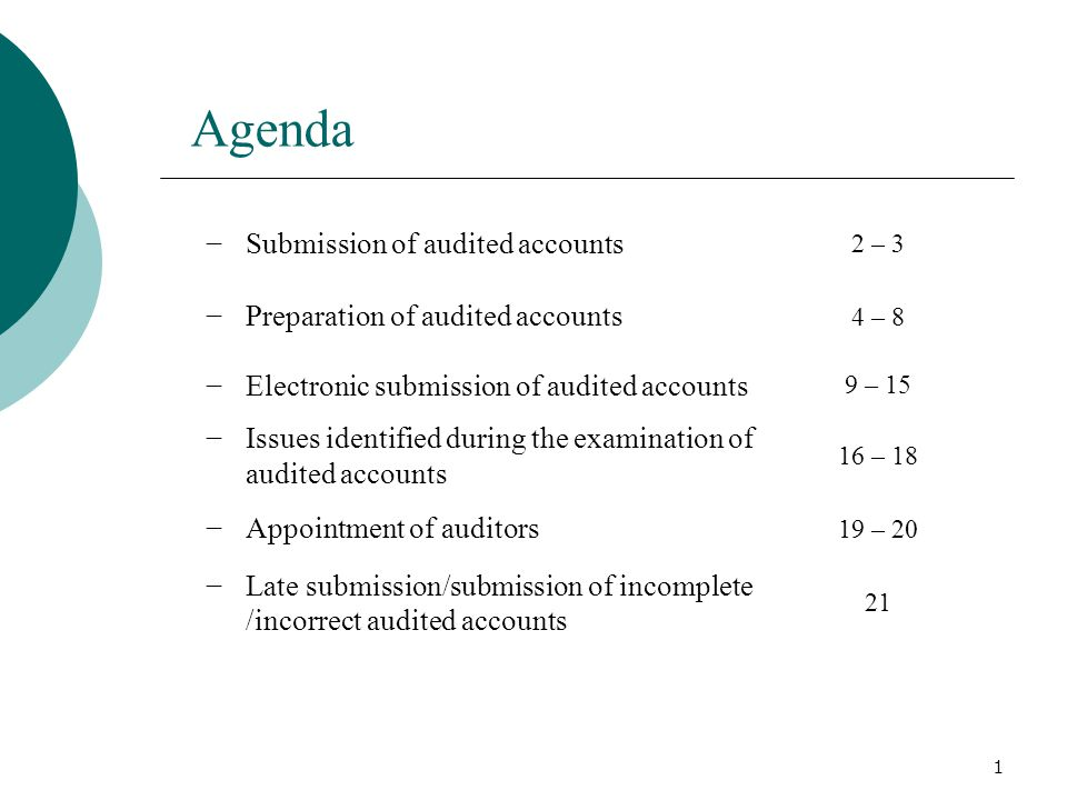 Agenda −Submission of audited accounts 2 – 3 −Preparation of audited accounts 4 – 8 −Electronic submission of audited accounts 9 – 15 −Issues identified during the examination of audited accounts 16 – 18 −Appointment of auditors 19 – 20 −Late submission/submission of incomplete /incorrect audited accounts 21 1