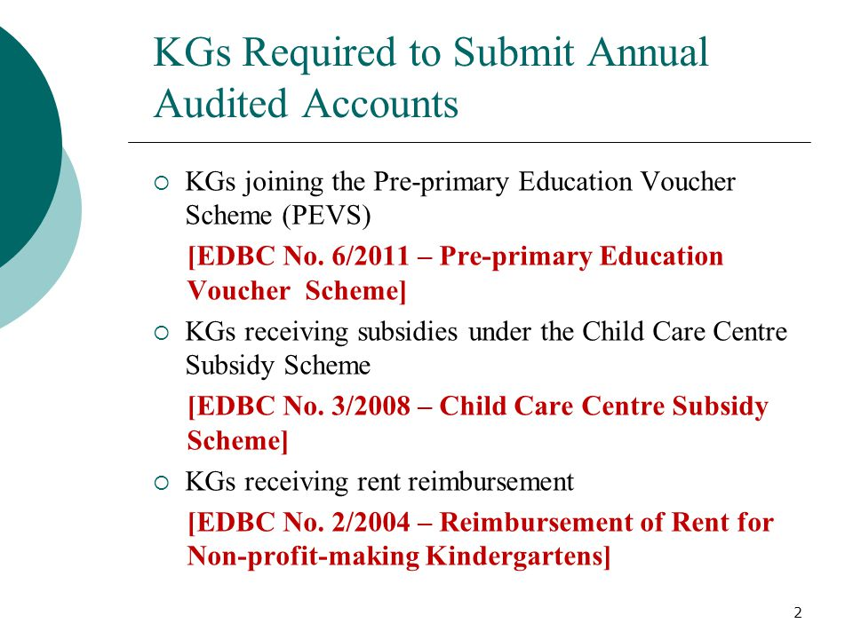 KGs Required to Submit Annual Audited Accounts  KGs joining the Pre-primary Education Voucher Scheme (PEVS) [EDBC No.