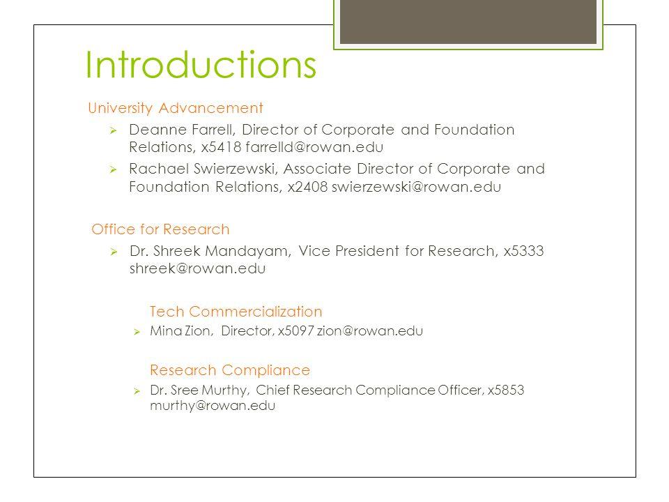 Introductions University Advancement  Deanne Farrell, Director of Corporate and Foundation Relations, x5418 farrelld@rowan.edu  Rachael Swierzewski,