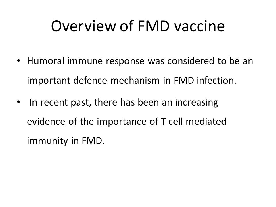 Overview of FMD vaccine Humoral immune response was considered to be an important defence mechanism in FMD infection.