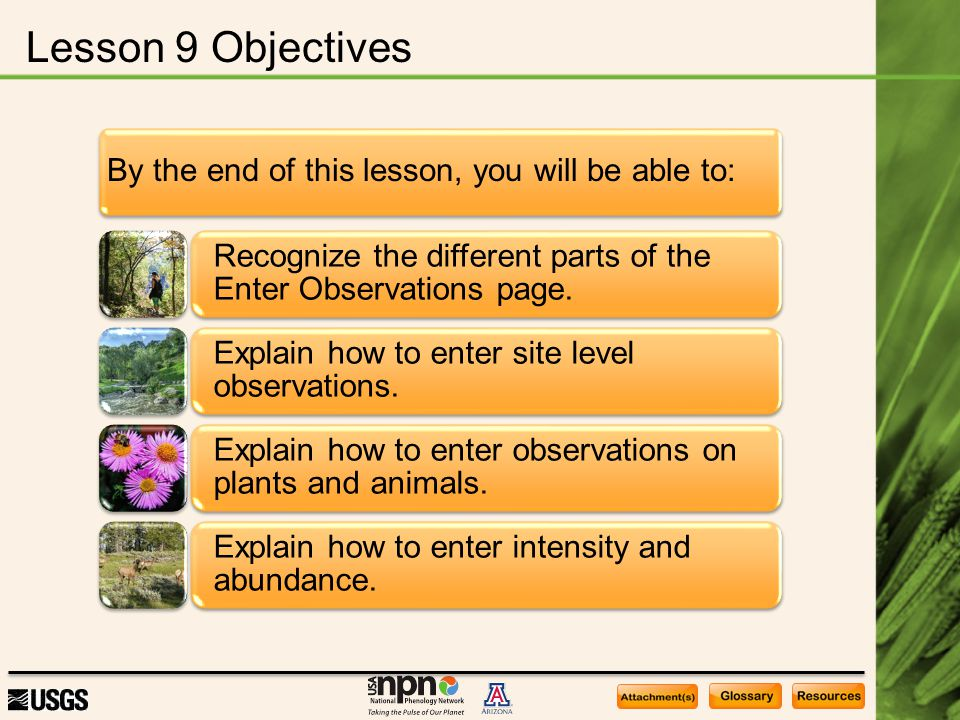 Lesson 9 Objectives By the end of this lesson, you will be able to: Recognize the different parts of the Enter Observations page. Explain how to enter