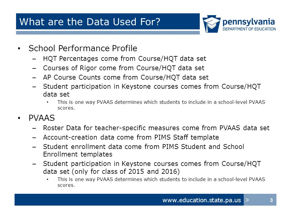 www.education.state.pa.us > What are the Data Used For.