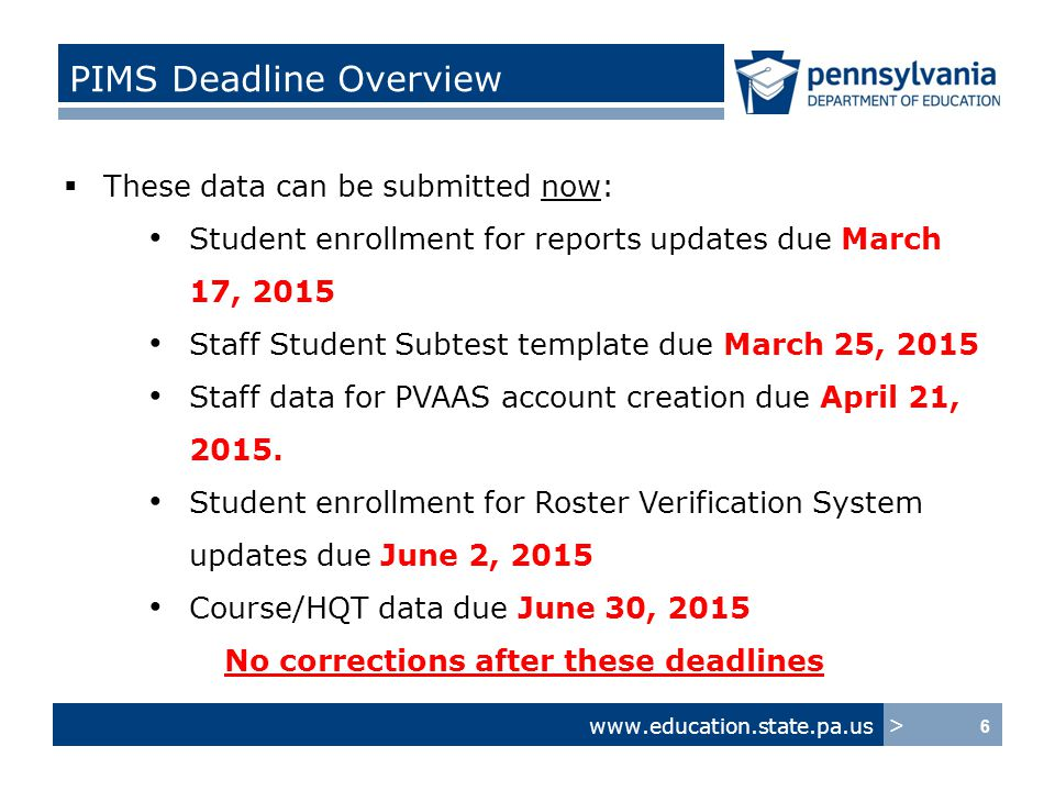 www.education.state.pa.us > Submit Early… Update Later  Submit and correct as early as possible.