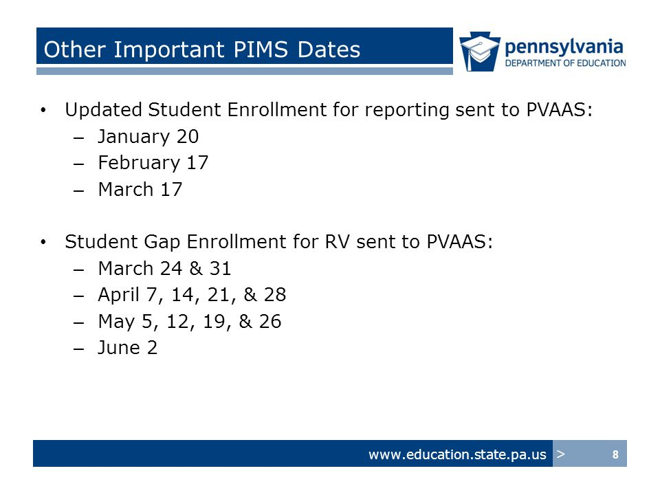www.education.state.pa.us > LEA Implementation Checklist for PVAAS Roster Verification and Teacher Specific Reporting: PIMS and SIS/LEA Information Systems ActionsConsiderations/If not, then… 7.Determine how your LEA will document % Full/Partial Instruction (defined in PIMS as Instructional Responsibility Weight) when shared responsibility changes during a grade/subject/course.