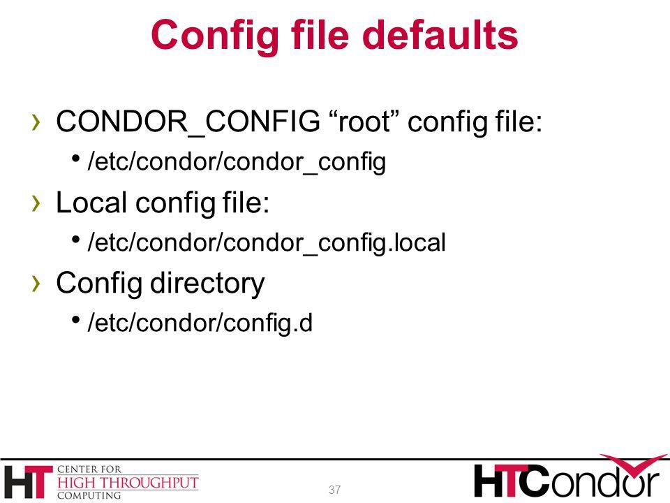 """› CONDOR_CONFIG """"root"""" config file:  /etc/condor/condor_config › Local config file:  /etc/condor/condor_config.local › Config directory  /etc/condo"""