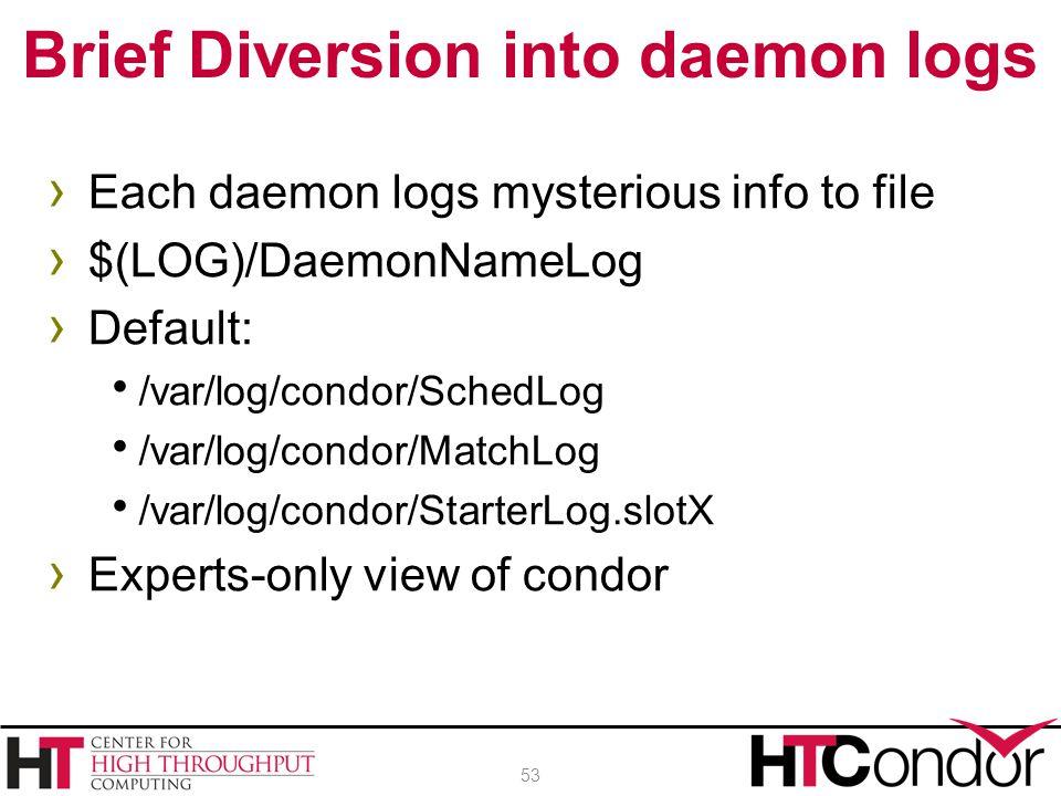 › Each daemon logs mysterious info to file › $(LOG)/DaemonNameLog › Default:  /var/log/condor/SchedLog  /var/log/condor/MatchLog  /var/log/condor/S
