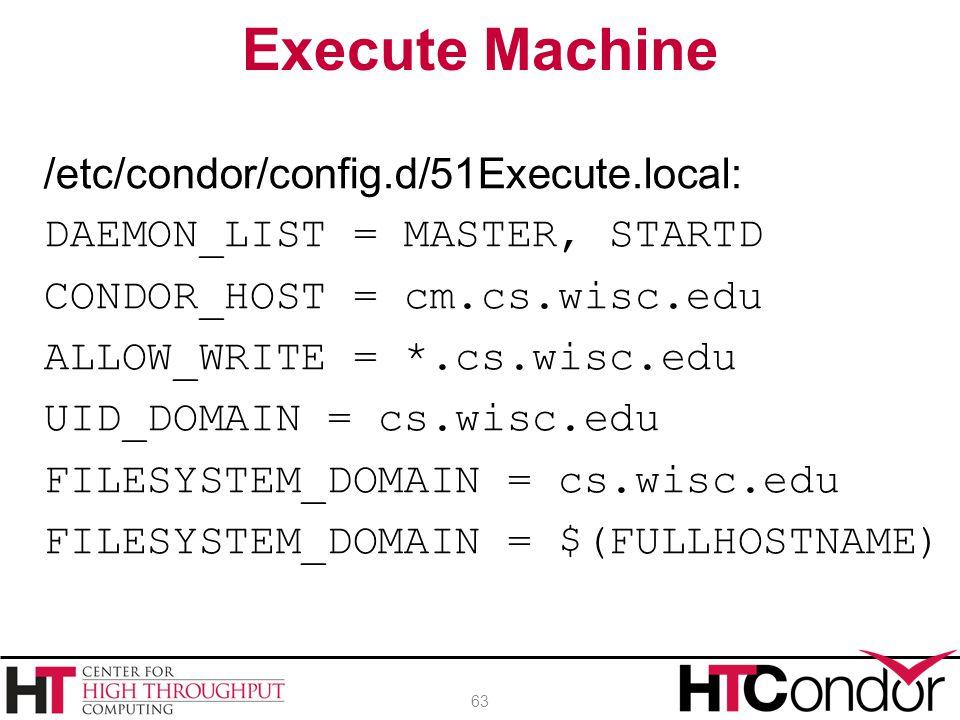 /etc/condor/config.d/51Execute.local: DAEMON_LIST = MASTER, STARTD CONDOR_HOST = cm.cs.wisc.edu ALLOW_WRITE = *.cs.wisc.edu UID_DOMAIN = cs.wisc.edu F