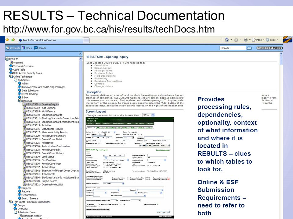 RESULTS – Technical Documentation http://www.for.gov.bc.ca/his/results/techDocs.htm Provides processing rules, dependencies, optionality, context of w