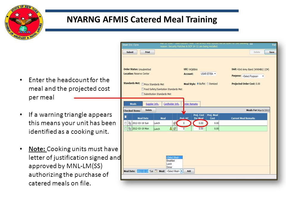 Click on the Meal detail that will open the meal detail page.