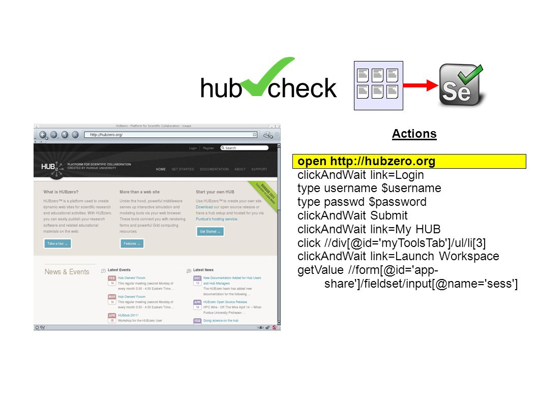 Actions open http://hubzero.org clickAndWait link=Login type username $username type passwd $password clickAndWait Submit clickAndWait link=My HUB click //div[@id= myToolsTab ]/ul/li[3] clickAndWait link=Launch Workspace getValue //form[@id= app- share ]/fieldset/input[@name= sess ] hub check