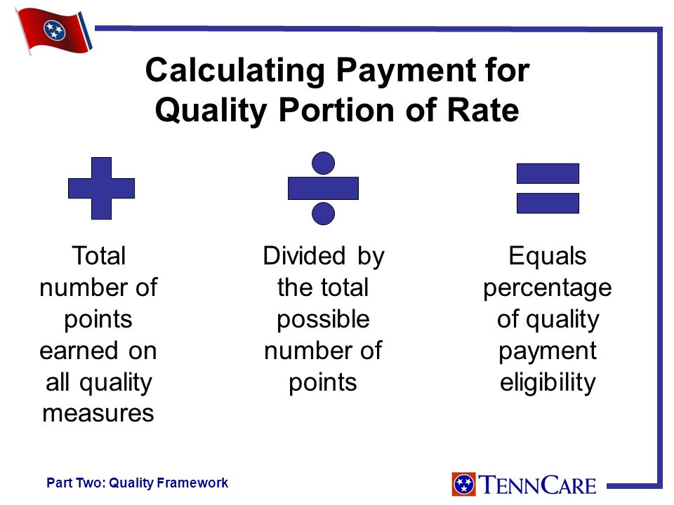 Calculating Payment for Quality Portion of Rate Total number of points earned on all quality measures Divided by the total possible number of points Equals percentage of quality payment eligibility Part Two: Quality Framework