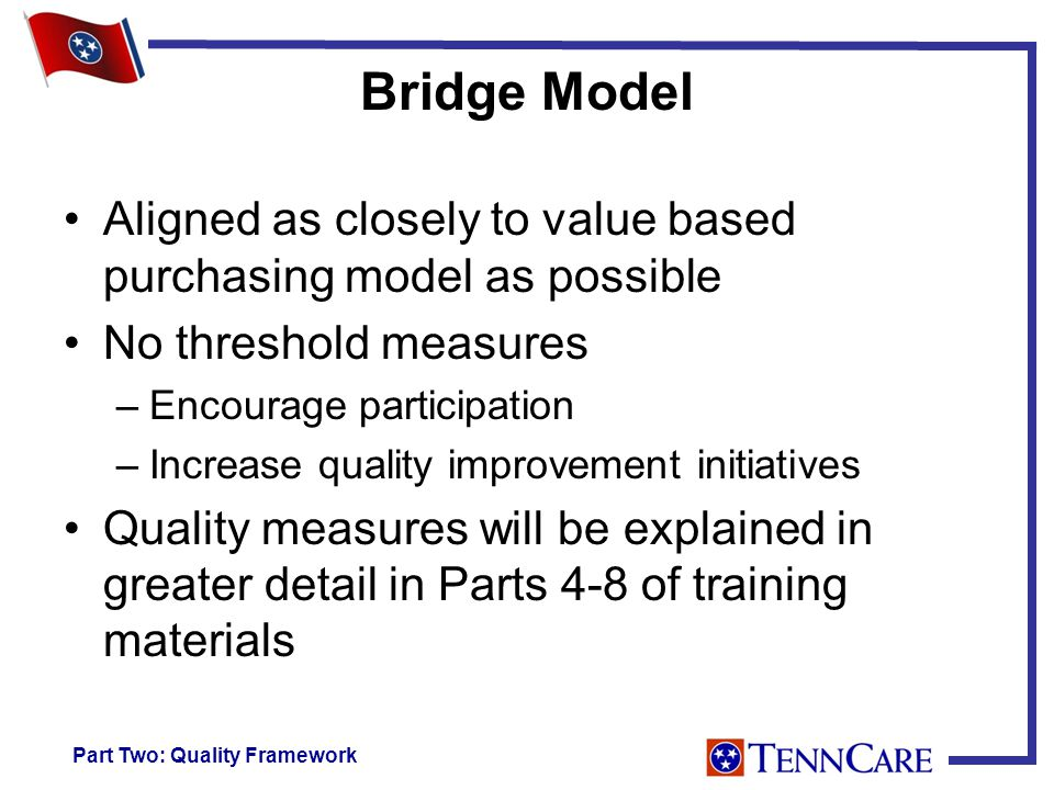 Bridge Model Aligned as closely to value based purchasing model as possible No threshold measures –Encourage participation –Increase quality improvement initiatives Quality measures will be explained in greater detail in Parts 4-8 of training materials Part Two: Quality Framework