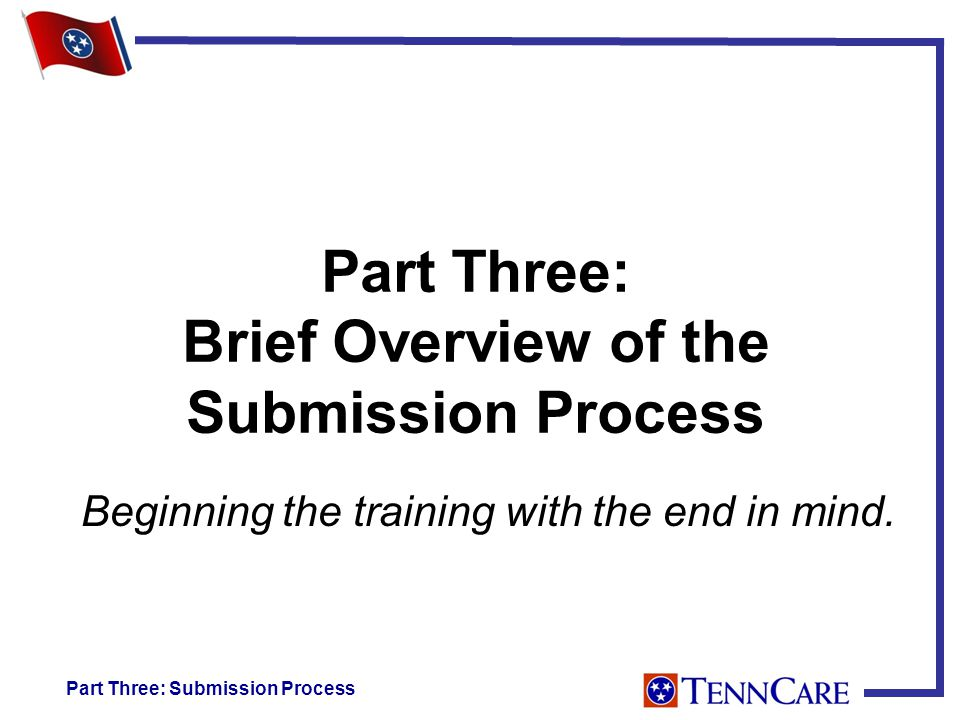 Part Three: Brief Overview of the Submission Process Beginning the training with the end in mind.