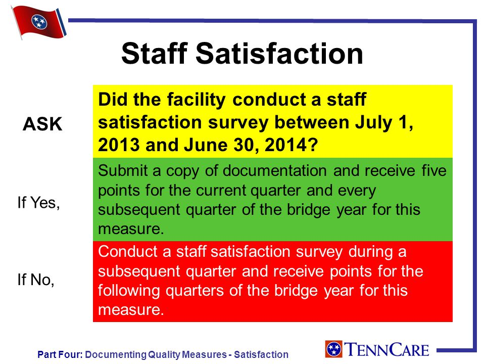 Staff Satisfaction Did the facility conduct a staff satisfaction survey between July 1, 2013 and June 30, 2014.