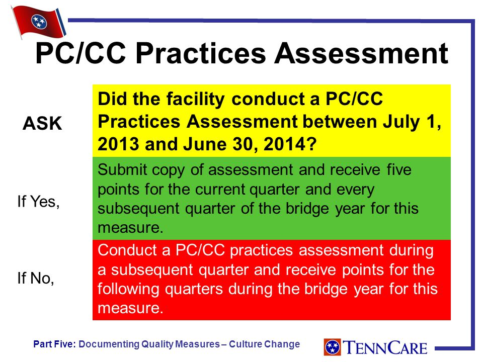PC/CC Practices Assessment Did the facility conduct a PC/CC Practices Assessment between July 1, 2013 and June 30, 2014.