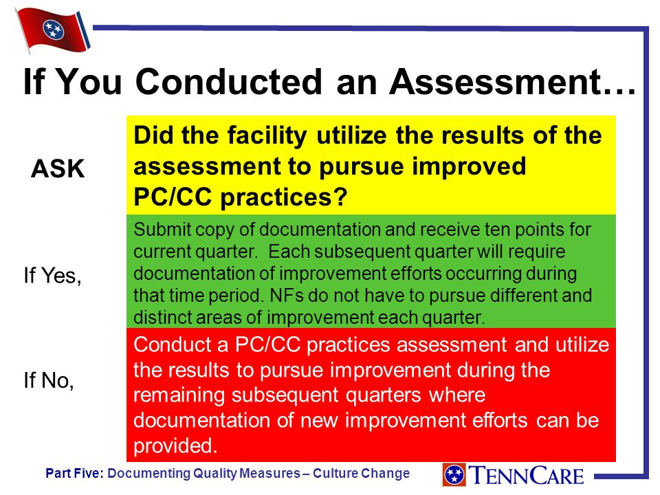 If You Conducted an Assessment… Did the facility utilize the results of the assessment to pursue improved PC/CC practices.