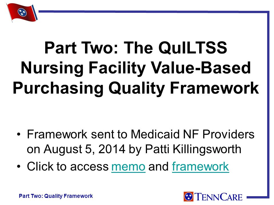 Part Two: The QuILTSS Nursing Facility Value-Based Purchasing Quality Framework Framework sent to Medicaid NF Providers on August 5, 2014 by Patti Killingsworth Click to access memo and frameworkmemoframework Part Two: Quality Framework